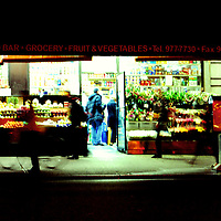Grocery Store off Times Square at night. Manhattan, New York City