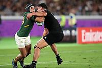 Rugby Union - 2019 Rugby World Cup - Pool B: New Zealand vs. South Africa<br /> <br /> Anton Lienert-Brown of New Zealand and Cheslin Kolbe of South Africa at the International Stadium Yokohama, Yokohama City.<br /> <br /> COLORSPORT/LYNNE CAMERON