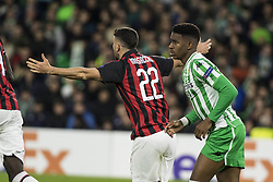 November 8, 2018 - Seville, Spain - MATEO MUSSACCHIO of Milan (L) argues after receiving a foul during the Europa League Group F soccer match between Real Betis and AC Milan at the Benito Villamarin Stadium (Credit Image: © Daniel Gonzalez Acuna/ZUMA Wire)