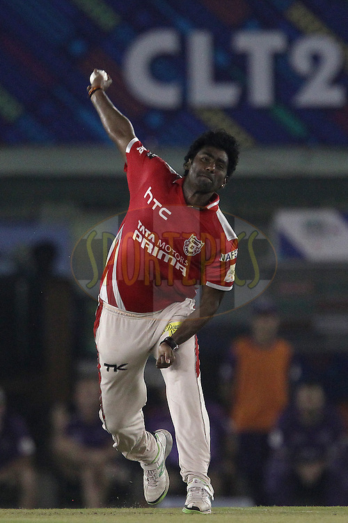 Parvinder AWANA  of the Kings XI Punjab  during match 2 of the Oppo Champions League Twenty20 between the Kings XI Punjab and the Hobart Hurricanes held at the Punjab Cricket Association Stadium, Mohali, India on the 18th September 2014<br /> <br /> Photo by:  Ron Gaunt / Sportzpics/ CLT20<br /> <br /> <br /> Image use is subject to the terms and conditions as laid out by the BCCI/ CLT20.  The terms and conditions can be downloaded here:<br /> <br /> http://sportzpics.photoshelter.com/gallery/CLT20-Image-Terms-and-Conditions-2014/G0000IfNJn535VPU/C0000QhhKadWcjYs