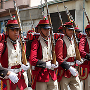 "Bolivian soldiers of the historic Colorados battalion participate in a military parade to honor national hero Eduardo Avaroa as part of ""Day of the Sea"" celebrations. Bolivia lost its coastline 131 years ago to Chile in the ""Guerra del Pacifico"", or War of the Pacific.  Sopocachi, La Paz, Bolivia,  March 23, 2010."
