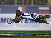 USA player Perry Baker dives over for a try in the game USA vs Australia during the USA Sevens Rugby Series at Sam Boyd Stadium, Las Vegas, USA on 2 March 2018. Picture by Ian  Muir.