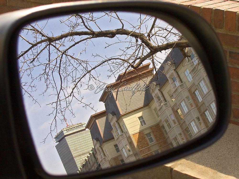 Commonwealth Avenue buidings reflected in auto side mirror, Boston,MA.