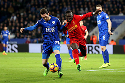 Sadio Mane of Liverpool battles with Christian Fuchs of Leicester City - Mandatory by-line: Robbie Stephenson/JMP - 27/02/2017 - FOOTBALL - King Power Stadium - Leicester, England - Leicester City v Liverpool - Premier League