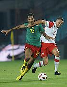 SZCZECIN 11/08/2010.FOOTBALL INTERNATIONAL FRIENDLY.POLAND v CAMEROON.JEAN-ERIC MAXIM CHOUPO-MOTING /KAM/ I DARIUSZ DUDKA  /POL/.Fot: Piotr Hawalej / WROFOTO