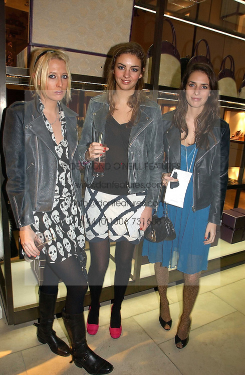 Left to right, the HON.SOPHIA HESKETH, ROSE HANBURY and MARINA HANBURY at a Christmas party to celebrate the 225th Anniversary of Asprey held at their store 167 New Bond Street, London on 7th December 2006.<br />