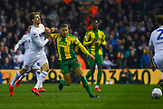 Patrick Bamford of Leeds United (9) against Dwight Gayle of West Bromwich Albion (16) during the EFL Sky Bet Championship match between Leeds United and West Bromwich Albion at Elland Road, Leeds, England on 1 March 2019.