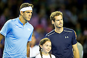 Andy Murray of Great Britain and Juan Martin del Potro of Argentina pose for a photography ahead of the Davis Cup Semi Final between Great Britain and Argentina at the Emirates Arena, Glasgow, United Kingdom on 16 September 2016. Photo by Craig Doyle.