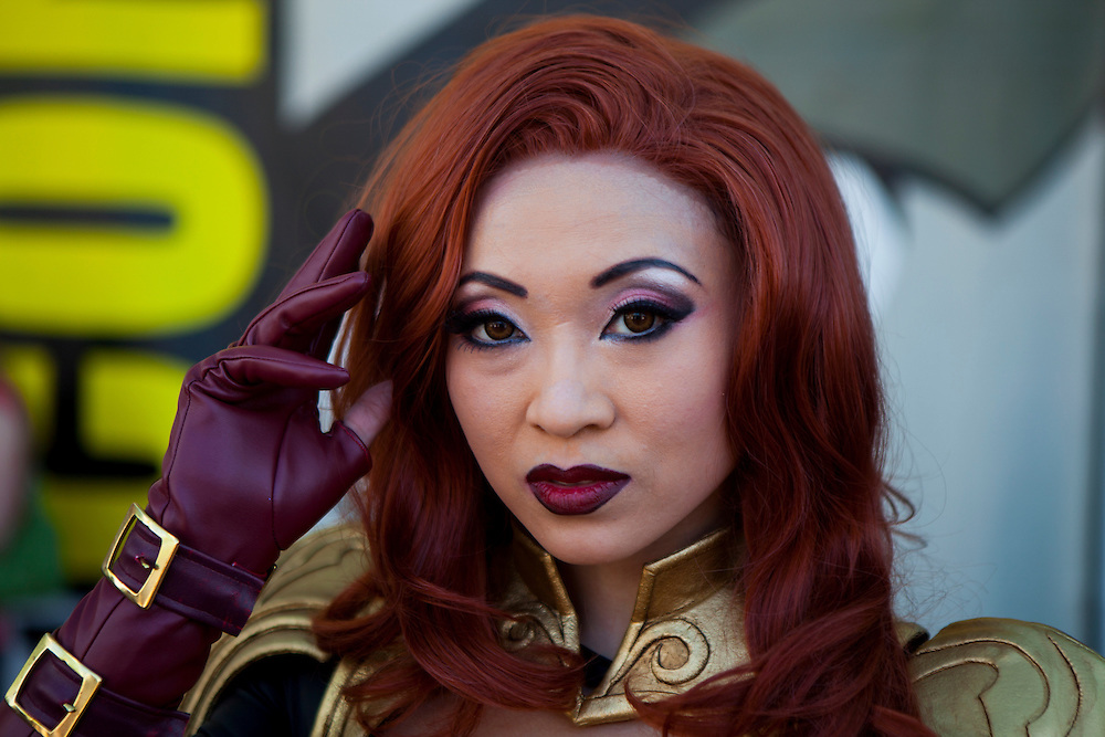 Cosplayer Yaya Han poses at Comic Con portraying Phoenix from Marvel Avengers Alliance.