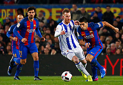 January 26, 2017 - Barcelona, Spain - David Zurutuza and Luis Suarez during the 1/4 final King Cup match between F.C. Barcelona v Real Sociedad, in Barcelona, on January 26, 2017. (Credit Image: © Joan Valls/NurPhoto via ZUMA Press)