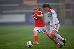 MERTHYR, WALES - Tuesday, February 14, 2017: Wales' Morgan Rogers in action against Hungary during a Women's Under-17's International Friendly match at Penydarren Park. (Pic by Laura Malkin/Propaganda)