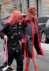 March 21, 2018 - New York, New York, United States - Actress Bella Thorne and her boyfriend rapper Mod Sun brave snow and freezing temperatures as she visited TV shows in Manhattan on March 21 2018 in New York City  (Credit Image: © Curtis Means/Ace Pictures via ZUMA Press)
