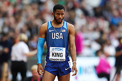 London, 2017 August 07. Kyree King, USA, at the start of his men's 200m heats on day four of the IAAF London 2017 world Championships at the London Stadium. © Paul Davey.