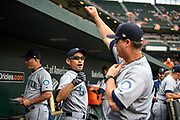 "Baltimore, Maryland - June 25, 2018: Ichiro Suzuki has a moment with Mariners manager Scott Servais while the future All Star pumps up the Mariners dugout at Camden Yards before playing the Orioles Monday June 25, 2018. Right before the first pitch is thrown he disappears into the locker room.<br /> <br /> He does everything an active player does except play. His new position in management forbids him from being in the dugout during game play, so he soaks up as much time with the players before the first pitch. <br /> <br /> Seattle Mariners star Ichiro Suzuki goes through all the pre-game warm ups like any position player on the Seattle Mariners, before their game against the Baltimore Orioles at Camden Yard Monday June 25th  -- except his current position is ""Special Assistant to the Chairman,"" in the ball club's front office.<br /> He does everything an active player does except play. His new position in management forbids him from being in the dugout during game play, so he soaks up as much time with the players before the first pitch. <br /> <br /> CREDIT: Matt Roth for The New York Times<br /> Assignment ID: 30221475A"