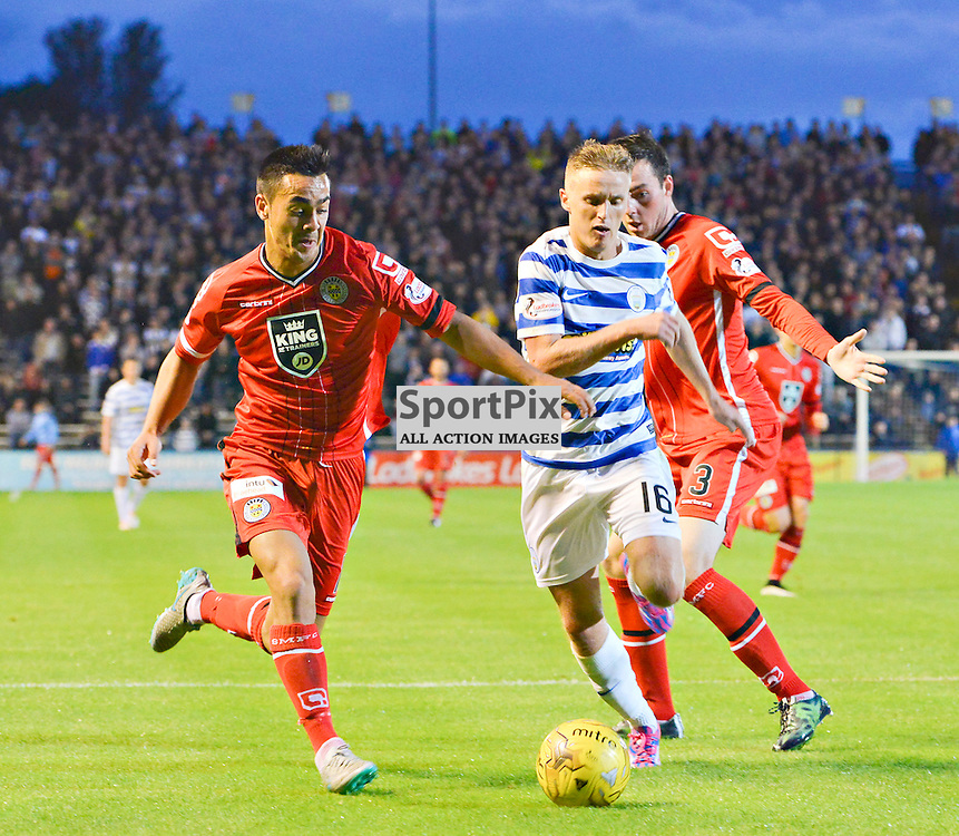 Robert Barr of Morton tries to break down the Buddies defence<br /> <br /> (c) BILLY WHITE | SportPix.org.uk