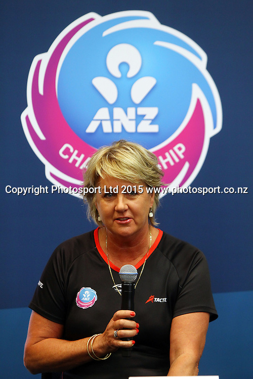 Sue Hawkins coach Mainland Tactix, ANZ Championship netball season launch, ANZ Building, Auckland. Tuesday 17 February 2015. Copyright Photo: William Booth / www.photosport.co.nz