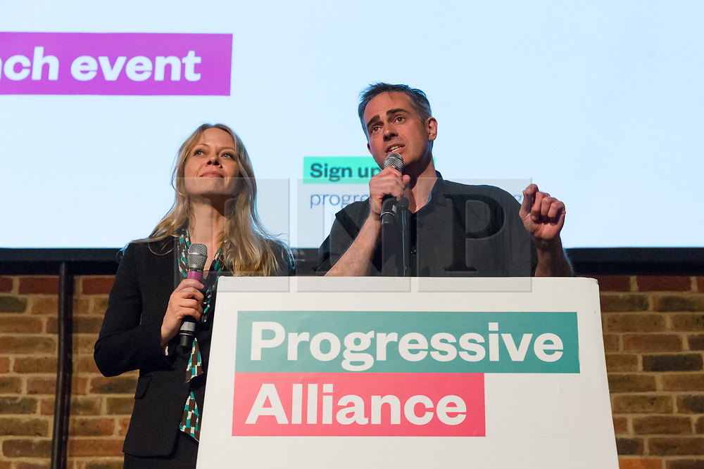 © Licensed to London News Pictures. 15/05/2017. LONDON, UK. JONATHAN BARTLEY and SIAN BERRY from the Green Party speaking at the Progressive Alliance launch in London. The Progressive Alliance is a cross political party group who are campaigning against the Tories and encouraging tactical voting in the general election.  Photo credit: Vickie Flores/LNP