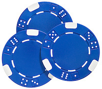 three blue poker chips