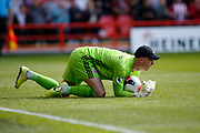 Dean Henderson of Sheffield United collects the ball during the Premier League match between Sheffield United and Crystal Palace at Bramall Lane, Sheffield, England on 18 August 2019.