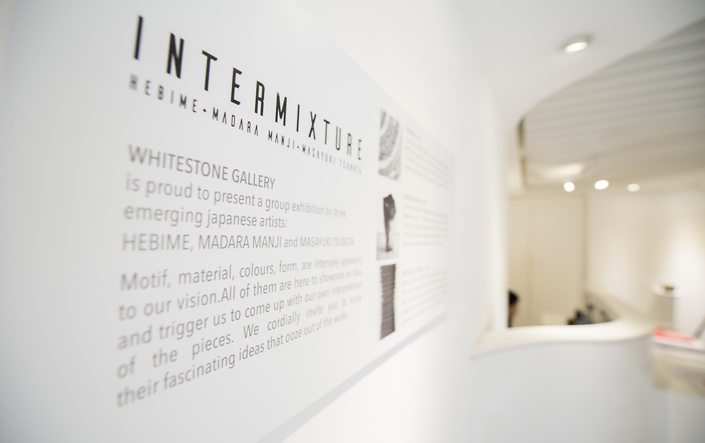 "installation shot for exhibition ""Intermixture"" by  Whitestone Gallery Hong Kong Hollywood Road, of Hebime, Madara Manji, and Masayuki Tsubota on Dec 1, 2017 - Jan 7,2017.<br /> Photo by Moses Ng/ MozImages"