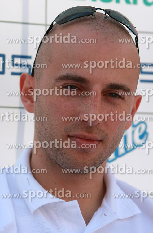 Nebojsa Joksimovic at press conference and after time with fans of Slovenian basketball National Team before departure to Athens for Olympic qualifications, on July 12, 2008, at Presernov trg, in Ljubljana, Slovenia. (Photo by Vid Ponikvar / Sportal Images)