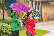 Tourists fight the wind as they stop to take photos in the historic district as Hurricane Joaquin brings heavy rain, flooding and strong winds as it passes offshore October 3, 2015 in Charleston, South Carolina.