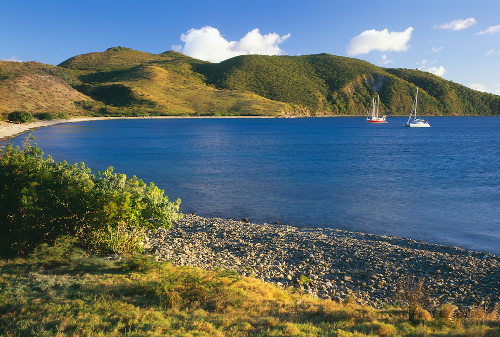 6210-1005 ~ Copyright: George H. H. Huey ~ Boats at anchor in Ballast Bay. Island of St. Kitts, Leeward Islands, Lesser Antilles, Caribbean.