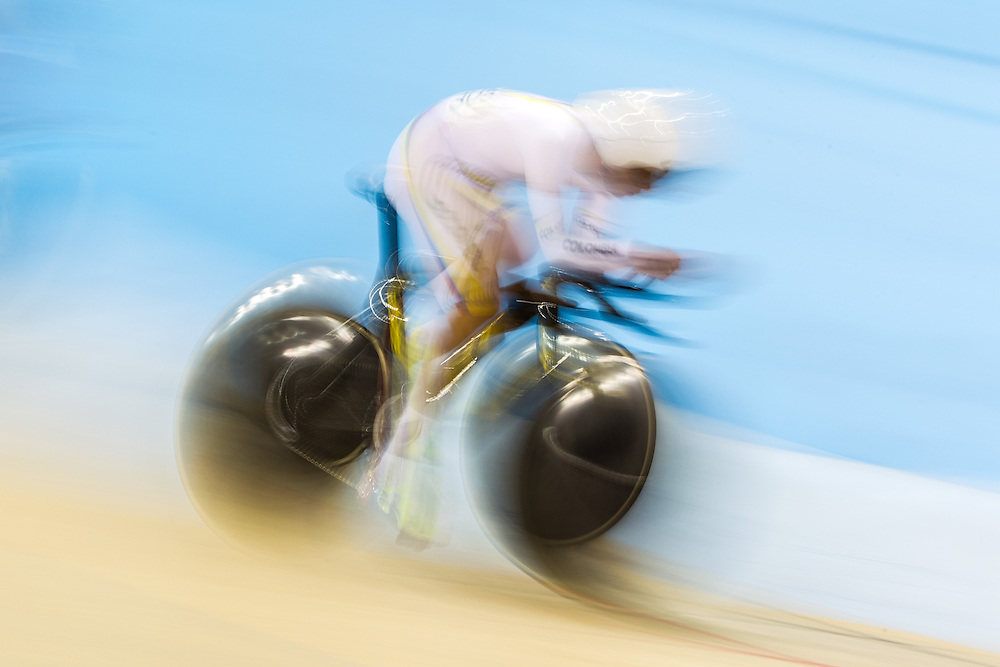 Fernando Gaviria Rendon of Colombia competes in the men's omnium individual pursuit on the fist day of track cycling at the 2015 Pan American Games in Toronto, Canada, July 16,  2015.  AFP PHOTO/GEOFF ROBINS