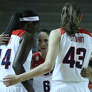 "United States Guard Sue Bird (6) ""CENTER"" huddles with her teammates prior to the start of a USA Women's National Team Exhibition game between Red and White Thursday, Sept. 11, 2014 at The Bob Carpenter Sports Convocation Center in Newark, DEL"