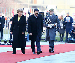 23.03.2015, Bundeskanzleramt, Berlin, GER, SPO, Merkel empfängt Tsipras, im Bild Bundeskanzlerin Angela Merkel (CDU) und Alexis Tsipras (SYRIZA), griechischer Premierminister, schreiten die Ehrenformation ab, Empfang des griechischen Ministerpraesidenten Alexis Tsipras // German Chancellor Angela Merkel welcomes Greek Prime Minister Alexis Tsipras at the Bundeskanzleramt in Berlin, Germany on 2015/03/23. EXPA Pictures © 2015, PhotoCredit: EXPA/ Eibner-Pressefoto/ Hundt<br /> <br /> *****ATTENTION - OUT of GER*****
