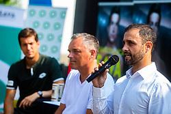 Aljaz Kosi president of ATP Zavarovalnica Sava Portoroz 2019 tennis challenge during ATP Press conference with Aljaz Bedene, on July 25th, 2019, in Ljubljansko kopalisce Kolezija, Ljubljana, Slovenia. Photo by Grega Valancic / Sportida