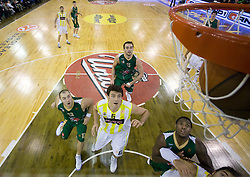 Marko Milic, Mirsad Turkcan, Mirza Begic, Franklin Robinson looking the ball in the basket at Euroleague basketball game in Round 9 of Group C between KK Union Olimpija, Ljubljana and Fenerbahce Ulker, Istanbul, on January 8, 2009, in Arena Tivoli, Ljubljana, Slovenia. Fenerbahce won 90:70. (Photo by Vid Ponikvar / SportIda).
