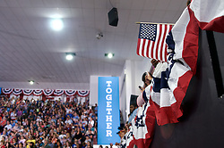 Philadelphia, Pennsylvania, USA - July 29, 2016;  One day after accepting the nomination at the 2016 Democratic National Convention Democratic presidential nominee former Secretary of State Hillary Clinton, joined by running mate Democratic vice presidential nominee U.S. Sen. Tim Kaine, and spouses (resp.) former U.S. President Bill Clinton and Anne Holton, take on a joined bus tour to kick of the remaining 100 days of campaigning till the General Elections, starting at Temple University in Philadelphia, PA.
