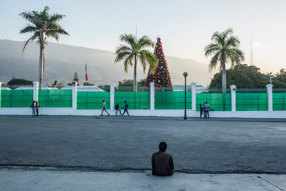 A Christmas tree on the lawn of the former site of the Presidential Palace on Monday, December 22, 2014 in Port-au-Prince, Haiti. The palace was destroyed in the 2010 earthquake, and has since been demolished.