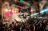 Festa do lançamento do Crocodilo Prime, a nova incarnação de uma das aparelhagens mais popular com a juventude de Belém. Com nove metros de comprimento, é a obra prima do mestre João do Som. Clube Recreio de Ananindeua, setembro 2017.