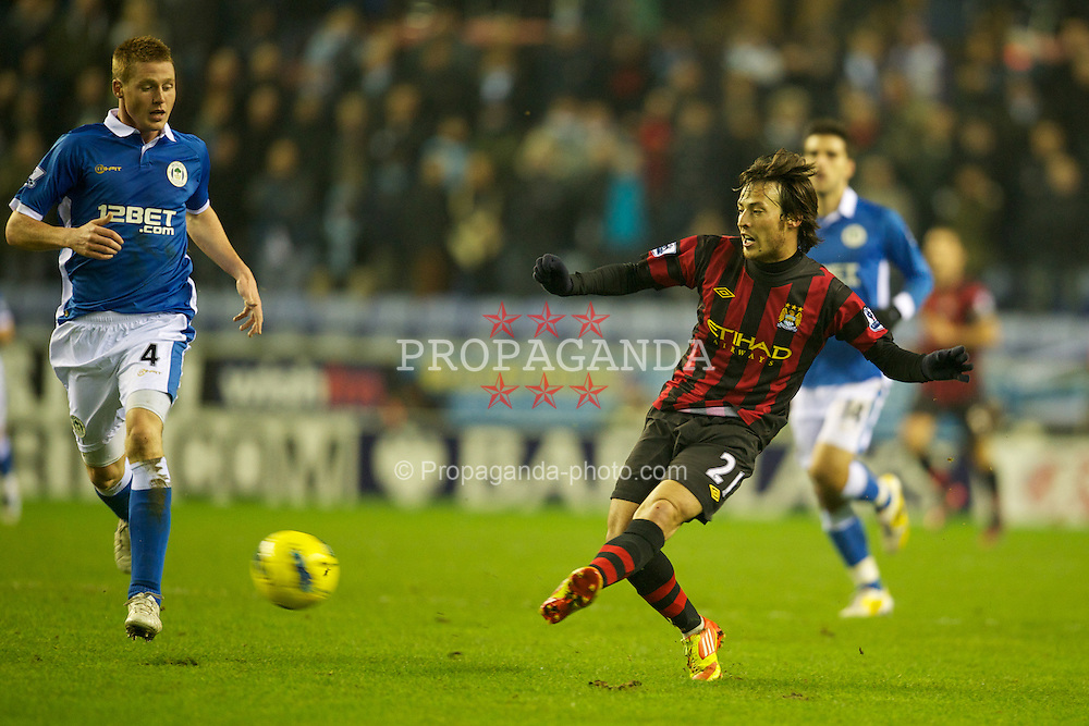 WIGAN, ENGLAND - Monday, January 16, 2011: Manchester City's David Silva in action against Wigan Athletic during the Premiership match at the DW Stadium. (Pic by David Rawcliffe/Propaganda)