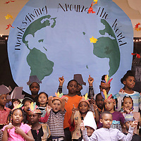 "Adam Robison | BUY AT PHOTOS.DJOURNAL.COM<br /> Verona Elementary School first graders perform their ""Thanksgiving Around The World"" program Thursday afternoon to parents and other classes at the multi-purpose building at Verona Elementary School."