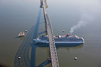 Aerial of Pride of Baltimore and Carnival Cruise Line Pride sailing under Key Bridge