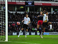 Reading's Pavel Pogrebnyak heads towards the goal. - Photo mandatory by-line: Alex James/JMP - Mobile: 07966 386802 - 14/02/2015 - SPORT - Football - Derby  - ipro stadium - Derby County v Reading - FA Cup - Fifth Round