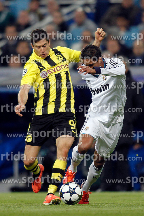 30.04.2013, Estadio Santiago Bernabeu, Madrid, ESP, UEFA CL, Real Madrid vs Borussia Dortmund, Halbfinale, Rueckspiel, im Bild Real Madrid's Varane and Borussia's Lewandowski // during UEFA Champions League 2nd Leg Semifinal Match between Real Madrid and Borussia Dortmund at the Estadio Santiago Bernabeu, Madrid, Spain on 2013/04/30. EXPA Pictures © 2013, PhotoCredit: EXPA/ Alterphotos/ Alconada..***** ATTENTION - OUT OF ESP and SUI *****
