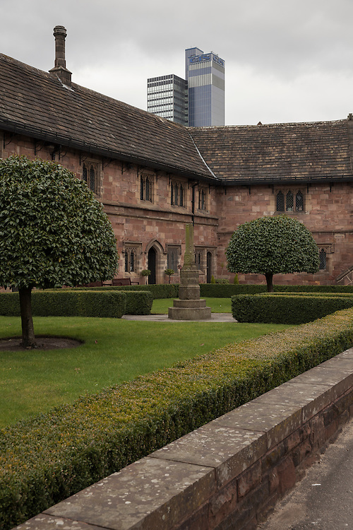Gardens outside Chetham's [www.chethams.org.uk], the oldest free public library in the world. Manchester, UK.