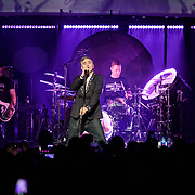 WASHINGTON, DC - November 30th, 2017 - Morrissey (center) performs at The Anthem in Washington, D.C. with bassist Mando Lopez , drummer Matt Walker and guitarist Jesse Tobias. (Photo by Kyle Gustafson / For The Washington Post)