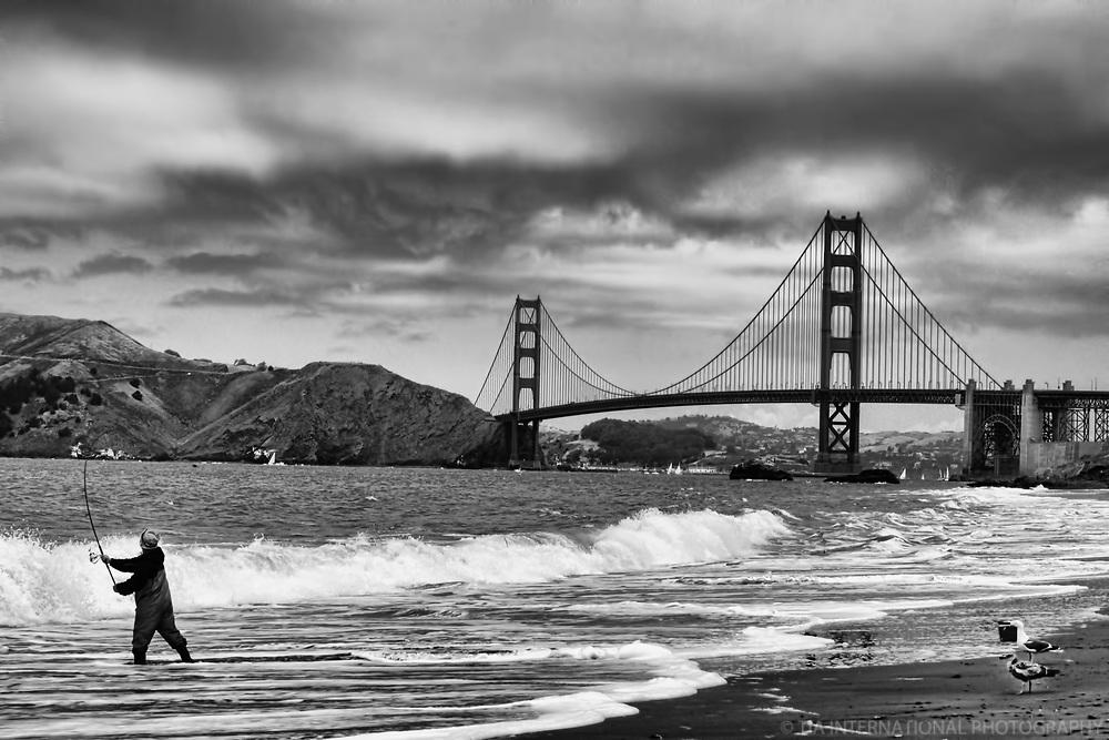 Fisherman @ Baker Beach near the Golden Gate Bridge