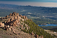 """This large boulder field of Pikes Peak granite is the beginning of the """"W's"""", a series of steep switchbacks along the Pikes Highway.  Colorado."""