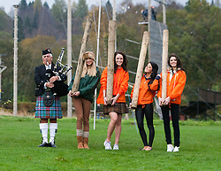 Miss Scotland Jennifer Reochs tosses the caber with Miss England Alize Lily Mounter, Miss Wales Sara Jessica Manchipp and Miss Northern Ireland Finola Frances Guinnane and piper major David Boyle..The Miss World 2011 contestants take part in Highland Games in the grounds of Crieff Hydro, Perthshire..MISS WORLD 2011 VISITS SCOTLAND..Pic © Michael Schofield.
