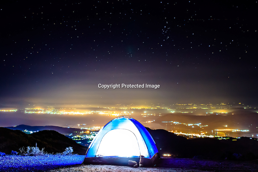 Tent setup above Lefkas, Greece