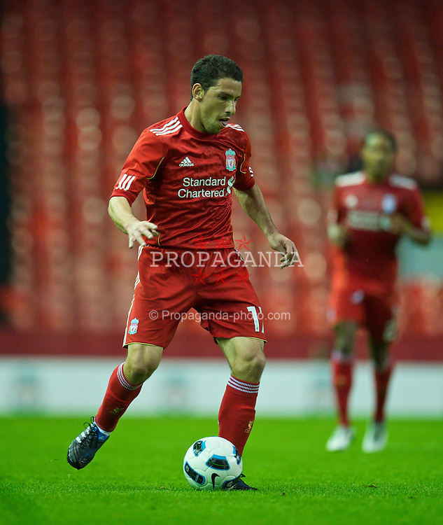 LIVERPOOL, ENGLAND - Thursday, August 5, 2010: Liverpool's Maximiliano Ruben Maxi Rodriguez in action against FK Rabotnicki during the UEFA Europa League 3rd Qualifying Round 2nd Leg match at Anfield. (Pic by: David Rawcliffe/Propaganda)