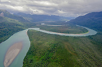 Aerial of Rio Palena in Southern Chile during the Patagonia Expedition 2013 with Nomads of the Seas.