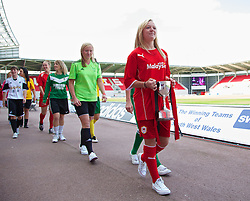 LLANELLI, WALES - Saturday, August 31, 2013: Cardiff City Ladies captain Lauren Hanock during the Final of the UEFA Women's Under-19 Championship Wales 2013 tournament at Parc y Scarlets. (Pic by David Rawcliffe/Propaganda)