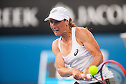 Virginie Razzano (FRA) faced the Australian summer heat and fierce pressure from her Australian Open day 3 opponent E. Bouchard (CAN). Bouchard  won the match 6-2, 7 (12) -6 (10).
